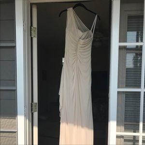 Champagne over the shoulder long dress